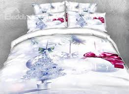 63 Onlwe 3D Silvery Christmas Tree And Ornaments Printed 4 Piece Bedding Sets Duvet Covers
