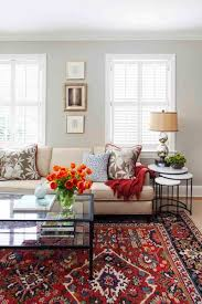 Transitional Living Room With Oriental Rug Custom Textiles And Nesting Tables