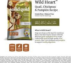 Pumpkin Rice For Dog Diarrhea by Solid Gold Wild Heart Quail Chickpeas U0026 Pumpkin Recipe Grain Free