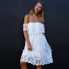 image summer women bohemian dress white lace shoulder