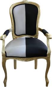 casa padrino barock esszimmer stuhl mit armlehnen schwarz weiss gold designer stuhl luxus qualität