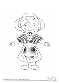 Welsh Girl Colouring Page