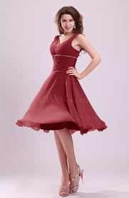 dark red cute a line sleeveless chiffon knee length ruching