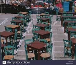 Greece Harbor Streets-pub Tables Brown Chairs Green Fisher ...