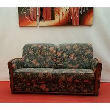 canapé bois et tissu fleuri 2 places n125