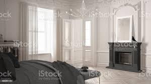 moderne skandinavische schlafzimmer in klassischen vintage wohnzimmer mit kamin luxus weiß und grau innenarchitektur stockfoto und mehr bilder