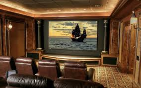 Small Home Theater Room Ideas Dvd Wall Shelves Twin Brown Speakers Yellow Paint Color Furnished Grey Cream Pillow
