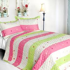 Pink Lime Green Dot Striped Girls Bedding Twin Full Queen King