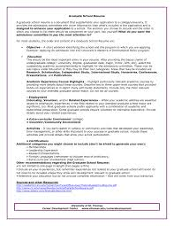 Sample Resume Graduate School Cv For Application Template Admissions