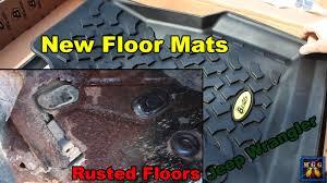 Jeep Jk Floor Mats by Jeep Wrangler Tj Rusty Floor Pans And New Bestop Floor Mats Youtube