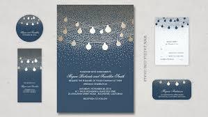 Navy Wedding Invitation String Lights Gold Foil