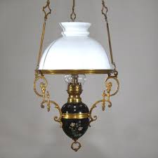 Antique Oil Lamps Ebay by Antique French Hanging Oil Lamp Weighted Chandelier Milk Glass