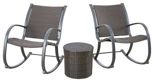 leann outdoor 3 brown rocking chair chat set