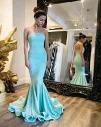 elegant long light blue prom dresses strapless mermaid