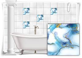 fliesen aufkleber folie marmor öl ölfarben abstrakt bad gold blau wc deko küche