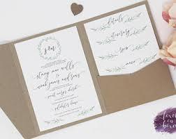 Rustic Botanical Wreath Pocket Fold Invitation Sample Over 70 Envelope Colours