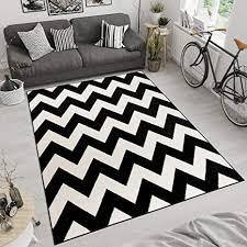 tapiso maroko teppich wohnzimmer schlafzimmer modern kurzflor geometrisch zick zack streifen gestreift schwarz creme ökotex 60 x 100 cm