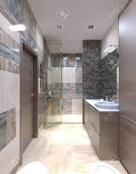 großes bad modern eingerichtet eines der ungewöhnlichsten lösungen die fliesen an den wänden zu vermischen 3d übertragen