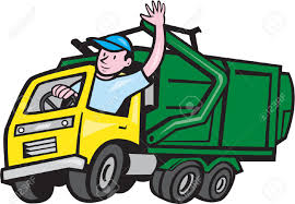 Illustration Of A Garbage Rubbish Truck With Driver Waving Hello On ...