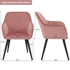 duhome esszimmerstuhl armlehnstuhl sessel armsessel stoff samt rosa pink metallbeine