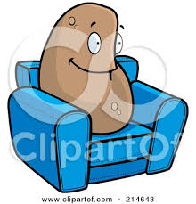 Lazy Couch Potato On A Blue Chair