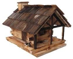 Rustic Log Cabin Bird Feeder