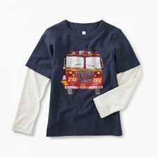Fire Truck Layered Graphic Tee | Tea Collection