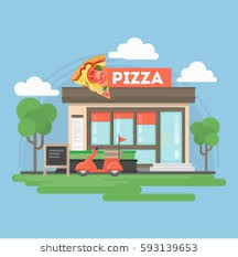 Pizza Restaurant Building Isolated Urban With Sign And Storefront City Landscape Withclouds