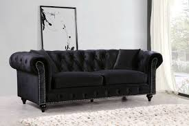 Tufted Velvet Sofa Set by Meridian Furniture Chesterfield 2pc Traditional Tufted Black