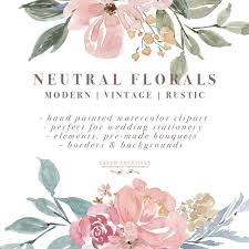 Neutral Watercolor Flowers Clipart Floral Borders Frames For Wedding Invitations Logos Commercial Use