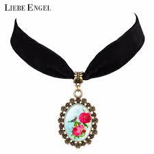 100 Flannel Flower Glass US 189 LIEBE ENGEL New Black Color Chain Bird Pattern Theme Cabochon Pendant Choker Necklace Jewelry Womenin Choker