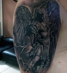 Male Angel Tattoo Designs At Modern Arms Guardina Fighting