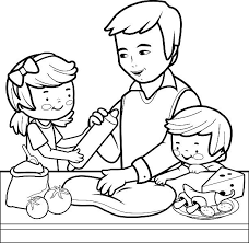 Father and children cooking pizza in the kitchen coloring page vector art illustration