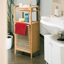 relaxdays badregal mit wäschekorb bambus