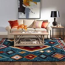 taleta designer kurzflor teppich geometrischen muster mit fransen für wohnzimmer mehrfarbig petrol orange größe 120x170cm