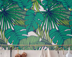Palm Monstera Leaf Wallpaper Removable Self Adhesive Tropical Wall Decor