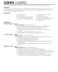 Waitress Objective For Resume Free Download Sample Of