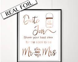 Copper Foil Engagement Party Sign Date Jar Poster Mr Mrs
