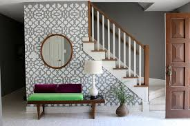 Stenciling An Accent Wall Using The Zamira Allover Stencil For A Wallpaper Look