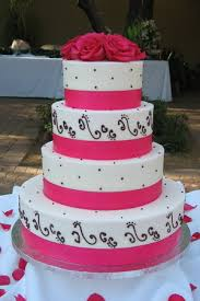 Black And White And Pink Wedding Cakes