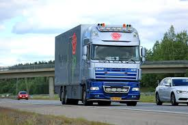 Download DAF XF Flower Truck Moves Along Motorway Among Traffic Editorial Photography