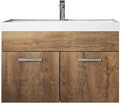 badezimmer badmöbel set paso 01 80 cm waschbecken lefkas braun unterschrank schrank waschbecken waschtisch