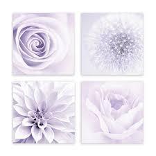 Modern Purple Lavender Floral Wall Art Framed Print Decor Set 4 Piece Dandelion