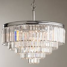 Modern Faceted Glass Layered Chandelier