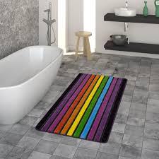 badematte kurzflor teppich für badezimmer mit streifen design 3 d look in bunt größe 40x55 cm