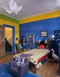 90s Kids Bedroom With Blue And Yellow Walls