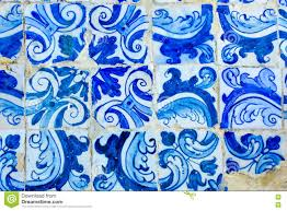 historic portuguese blue and white mosaic tiles decoration stock