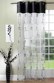 Exterior Lovable White Transparent Window Curtain Idea With Endearing Black Top Curtian Design And Ravishing