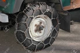 Snow Chains On A Pickup Wheel, Winter Equipment For The Mountains ...