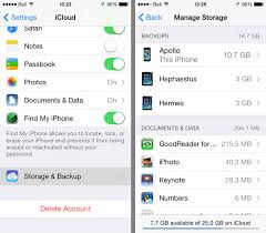 Deleting old iCloud Backups